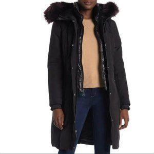 Nine West Parka Faux Fur Trim Hood Long Black Size Medium NWT